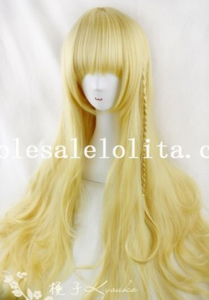 Light Gold 80/100cm Long Curly Touhou Project Kirisame Marisa Cosplay Wig