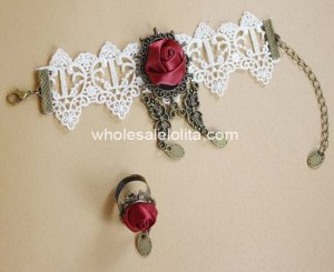 Gothic White Lace Bronze Butterfly Burgundy Rose Bracelet & Ring
