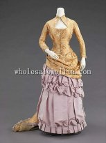 1880s American Culture Silk Elegant Victorian Bustle Evening Dress