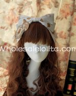 White & Golden Alice Printing KC Lolita HeadBand