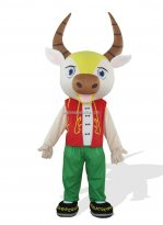 Adult Cattle In Red Clothes Plush Costume