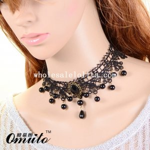Black Fashion Lace Collar Choker Chain Necklace Pendant for Prom