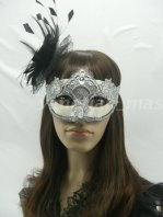 Silver Lace Venetian Style Masquerade Ball Mask