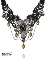 Gothic Vintage Flower Black Lace Gem Copper Heart Pendant Necklace