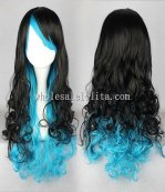 Harajuku Lolita Wig Black And Blue Long Curly Hair