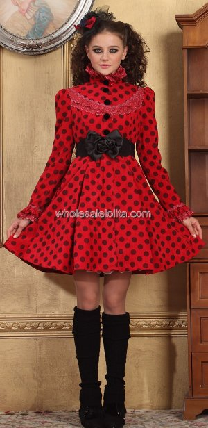 Red Stand Collar Black Dot Casual Lolita Dress