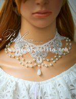 Elegant Crystal White Lace Collar Choker Pearl Pendant Chain Necklace for Bride/Bridesmaid