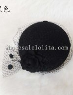 Paris Fashion Black/Grey Wool Veiled Beret Hat