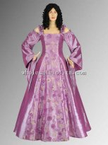 Custom Made 16/17th Century Renaissance or Medieval Style Dress Handmade from Embroidered Satin