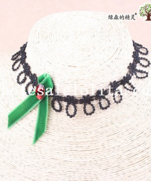 Gothic Black Lace Collar Choker Hotsale Necklace with Green Ribbon and Ruby