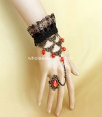 Gothic Vintage Black Lace Red Bead Ladies Bracelet & Ring