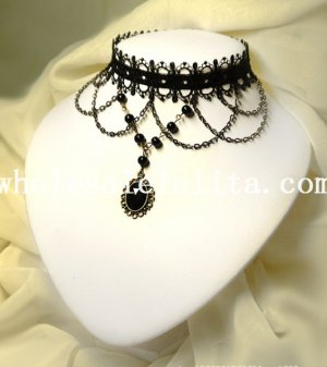 Handmade Vintage Fashion Black Lace Gothic Necklace with Gem Pendant Chain