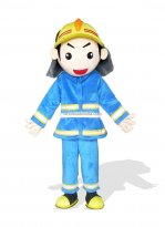 Blue Fireman Adult Plush Mascot Costume