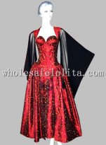 Gothic Wine Red Printing Historical Euro Court Princess Dress