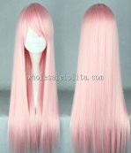 Pink Long Oblique Bangs Hair Pink Lolita Wigs