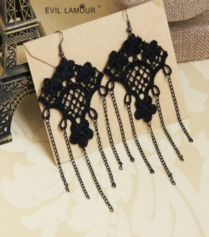 Black Lace Gothic Earrings EH-32