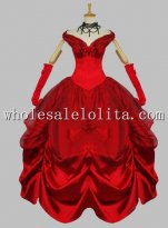 Disney Cosplay Sexy Red Belle Adult Halloween Costume Ball Gown