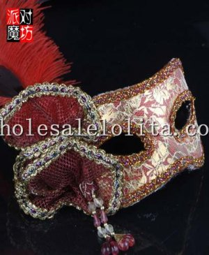 Halloween Red Half Face Masquerade Mask with Glitter Eyelashes and Flower