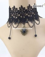 Royal Graceful Gothic Hotsale Black Lace Collar Choker Gem Pendant Necklace for Women's Gift