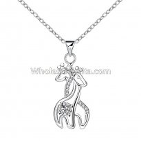 Fashionable Platinum Necklace with Double Deers Pendant for Versatile Occasions