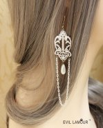 White Pearl Lace Gothic Earrings