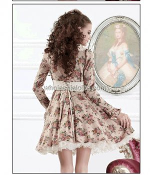 2013 Autumn Exquisite Apricot Floral Casual Lolita Dress