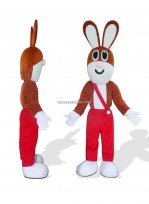 Cute Rabbit In Red Trousers Bunny Mascot Costume