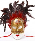 Gold Carnival Venetian Mask with Red And Black Feather