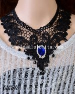 Blue Gem Black Lace Bead Pendant Collar Choker Fashion Necklace