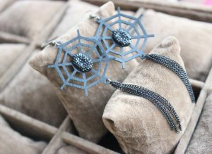 Gothic Black Spider Web Lolita Earrings