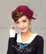 Paris Fashion Black/Deep Red Wool Ladies Beret Hat