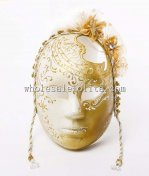 Gold Carnival Venetian Full Face Mask with Flowers and Hole on Head