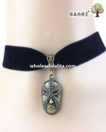 Women's Black Velvet Collar Choker Mask Pendant Necklace for Gift