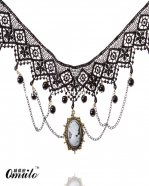 Handmade Gem Pendant Chain Black Layered Lace Collar Choker Necklace