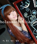 Mori Girl Red Brown 80cm Long Natural Curly Hair Lolita Wig