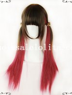 Fashion Girl Cosplay Anime Mix-colored Long Straight Hair Wig
