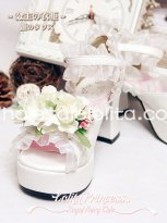 Pricess Series White Chinese Peony Flower Lace Sweet Lolita Shoes Sandals