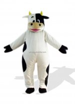 Adult Black And White Plush Cow Costume