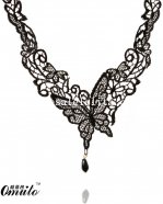 Sexy Black Gemed Lace Necklace Pendant with Butterfly Pattern