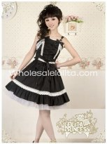 Gothic Black Bows Cotton Suspenders Lolita Dress for Summer