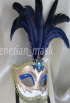 Blue Feather Masquerade Ball Mask