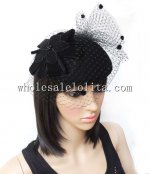 Paris New Arrival Black Wool Exquisite Ladies Veiled Hat