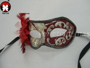 Manual Red Silver Costume Party Mask