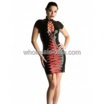 Sexy Black Cut Out Bust Red Lace Up Latex Mini Dress