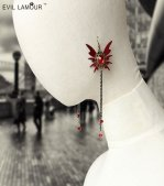 Gothic Red Butterfly Gem Lolita Earrings