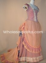New Pink & Champagne Short Sleeves Victorian Bustle Evening Dress Ball Gown