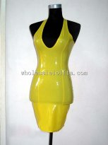 Shiny Yellow Sexy Low Cut Halter Latex Club Dress for Women