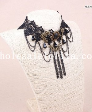 Vintage Gothic Black Lace Collar Choker Pendant Necklace for Jewelry Accessory