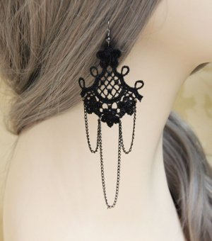 Black Lace Gothic Earrings EH-31