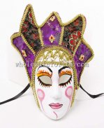 Women's Full Face Drama Halloween Venetian Masks in Purple and Black Color